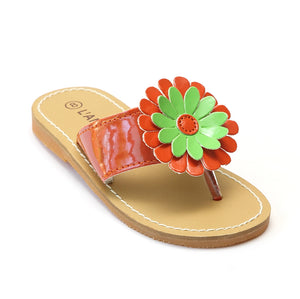 L'Amour Girls Tangerine Flower Thong Sandals - Babychelle.com
