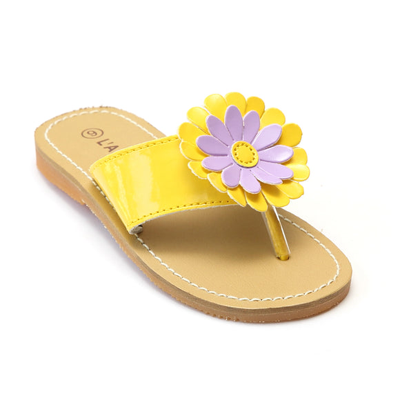 L'Amour Girls Yellow Flower Thong Sandals - Babychelle.com
