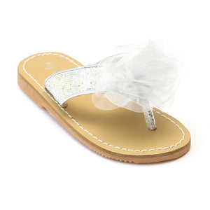 L'Amour Girls Silver Organza Flower Thong Sandals - Babychelle.com
