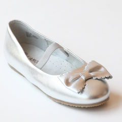 L'Amour Girls J800 Silver Ballet Scalloped Bow Flats