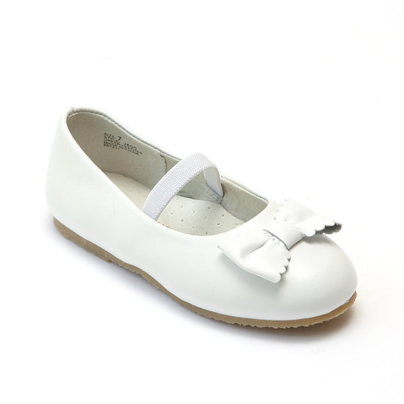 L'Amour Girls White Ballet Scalloped Bow Flats - Babychelle.com