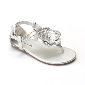 L'Amour Girls J912 Silver Glitter Flower Thong Sandals - Babychelle.com