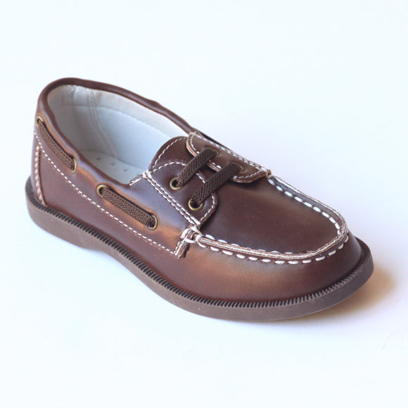 L'Amour Boys J970 Brown Leather Boat Shoes