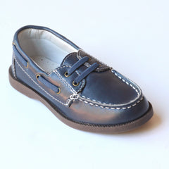 L'Amour Boys J970 Navy Leather Boat Shoes