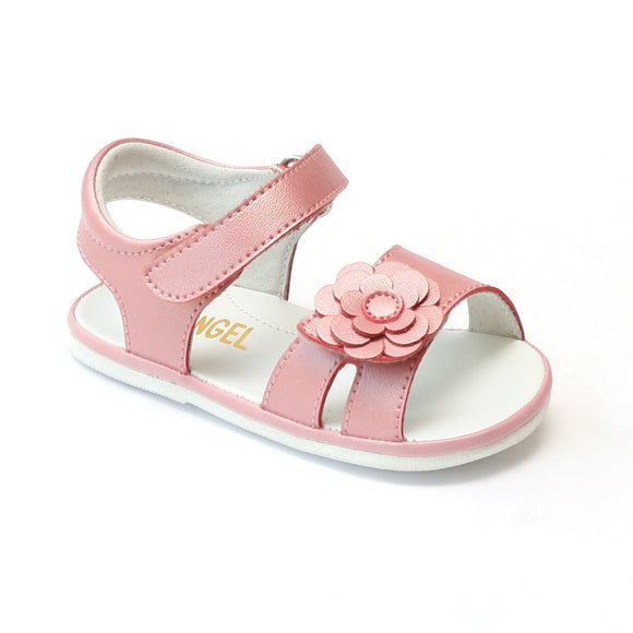 Angel Baby Girls Guava Flower Toe Strap Sandals - Babychelle.com