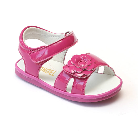 Angel Baby Girls Fuchsia Flower Toe Strap Sandals - Babychelle.com