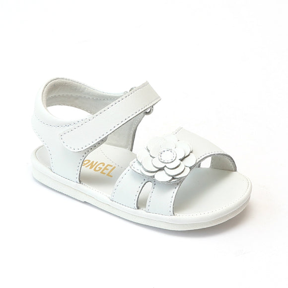 Angel Baby Girls White Flower Toe Strap Sandals - Babychelle.com