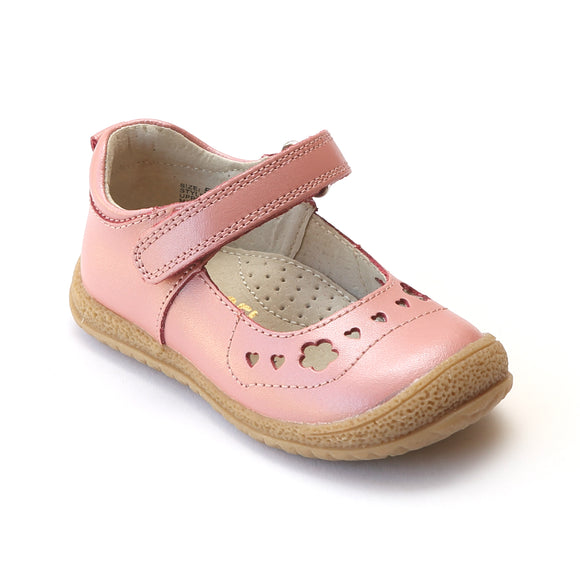 L'Amour Girls Rose Perforated Sweet Heart Mary Janes - Babychelle.com