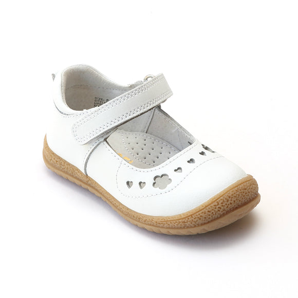 L'Amour Girls White Perforated Sweet Heart Mary Janes - Babychelle.com