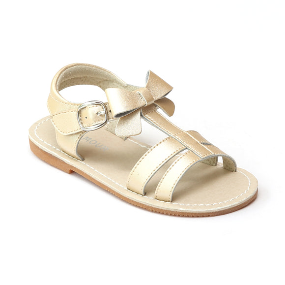 L'Amour Girls Champagne Leather T-Strap Bow Sandals - Babychelle.com