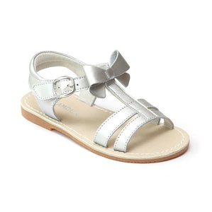 L'Amour Girls Silver Leather T-Strap Bow Sandals - Babychelle.com