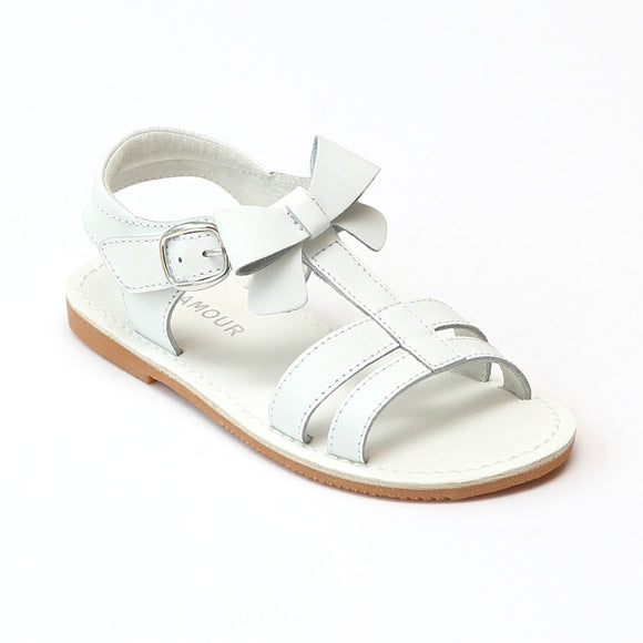 L'Amour Girls White Leather T-Strap Bow Sandals - Babychelle.com