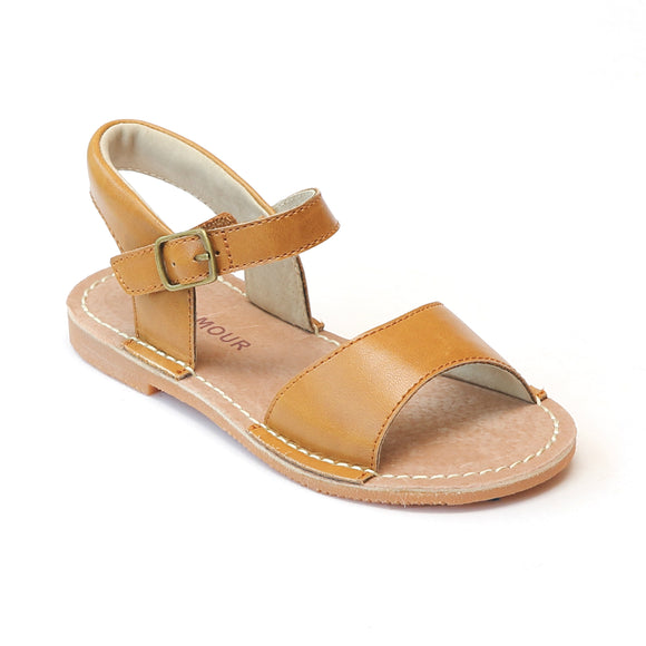 L'Amour Girls Open Toe Stitch Down Mustard Sandal - Babychelle.com