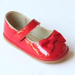Angel Baby Girls Patent Red Mary Jane with Bow
