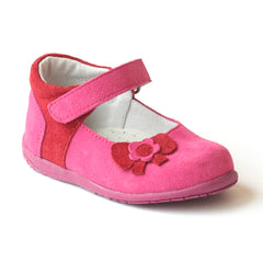 L'Amour Girls Nubuck Fuchsia Fashion Mary Jane