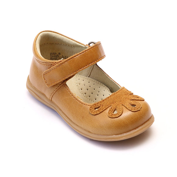 Angel Baby Girls Bloom Gold Leather Mary Janes - Babychelle.com