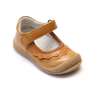 L'Amour Girls Golden Ruffle Mary Janes - Babychelle.com
