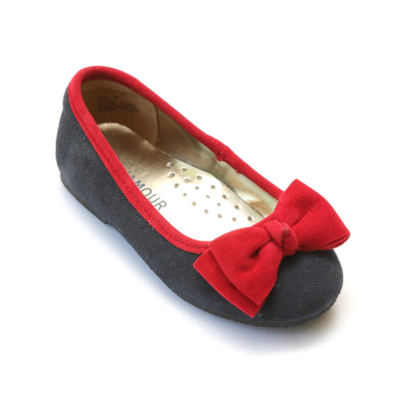 L'Amour Navy Suede Flat with Velvet Bow - Babychelle