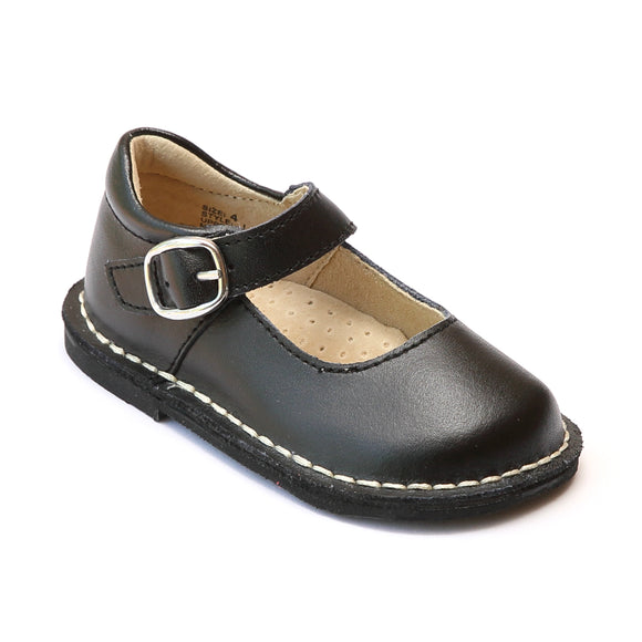 L'Amour Girls Black Classic Matte Leather Mary Janes - Babychelle.com