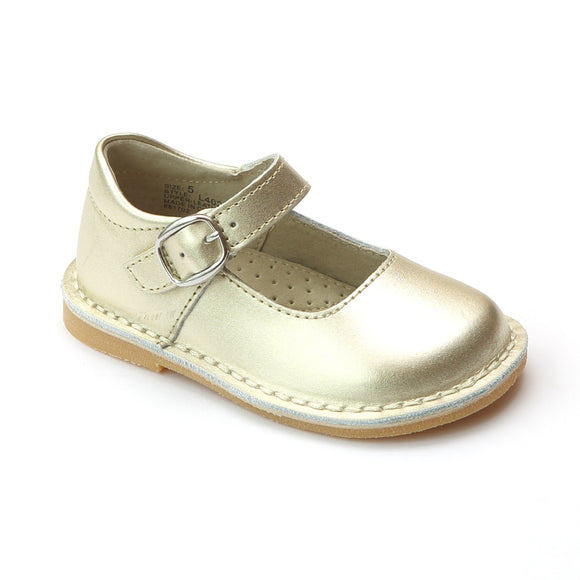 L'Amour Girls Gold Classic Matte Leather Mary Janes - Babychelle.com