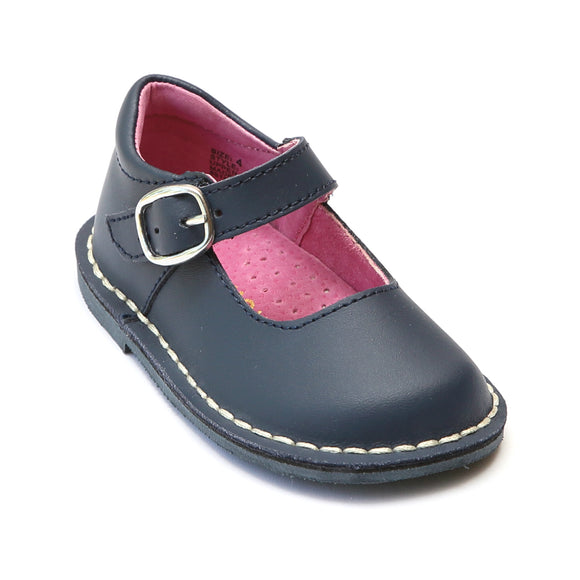 L'Amour Girls Navy Classic Matte Leather Mary Janes - Babychelle.com