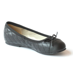 L'Amour Girls Black Quilted Ballet Flats