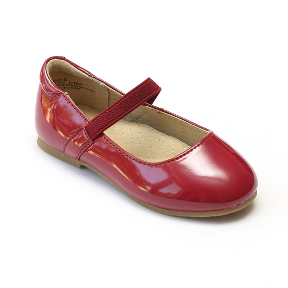 L'Amour Girls Patent Red Flat with Tonal Elastic Strap - Babychelle.com
