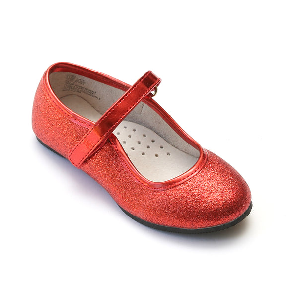 L'Amour Girls Red Ankle Strap Glitter Flats - Babychelle.com