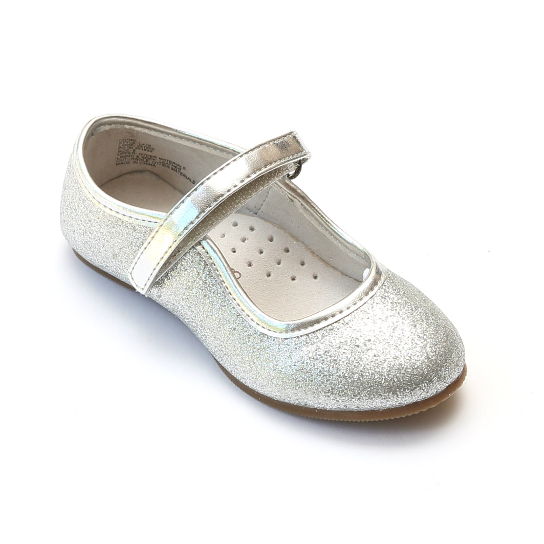 edafe679e ... L'Amour Girls Silver Ankle Strap Glitter Flats - Babychelle.com