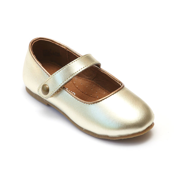 L'Amour Girls Classic Button Strap Gold Leather Flats - Babychelle.com
