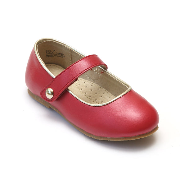 L'Amour Girls Classic Button Strap Red Leather Flats - Babychelle.com