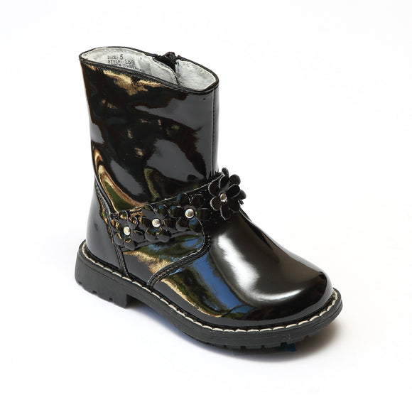 L'Amour Girls Black Moto Boots with Flower Accents - Babychelle.com