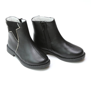 L'Amour Girls Black Star Cut Out Boots - Babychelle.com
