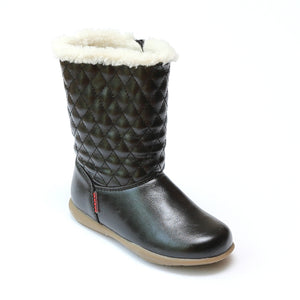 L'Amour Girls Black Quilted Mid Calf Boot - Babychelle.com