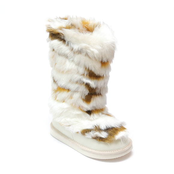 L'Amour Girls Cream Tall Faux Fur Fashion Boots - Babychelle.com