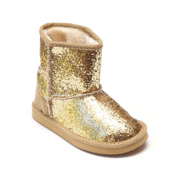 L'Amour Girls Glitter Gold Fleeced Faux Fur Boots - Babychelle.com