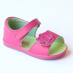 Angel Girls Fuchsia Flower Leather Open Toe Sandals