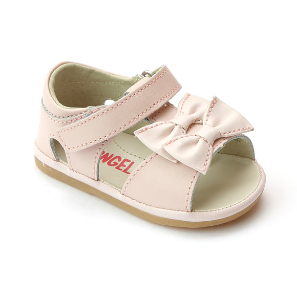 Angel Baby Girls Pink Twin Bow T-Strap Sandal - Babychelle.com