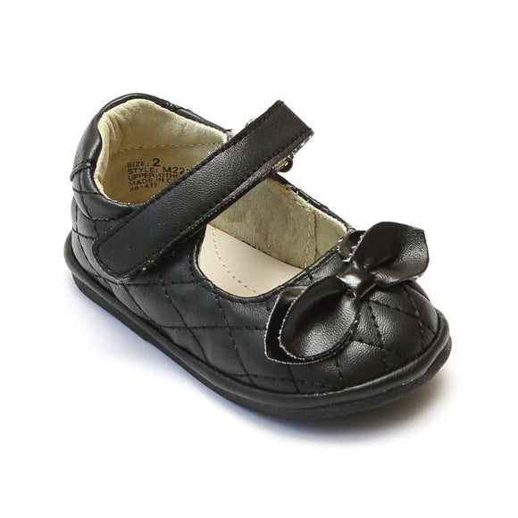 Angel Baby Girls Black Quilted Mary Jane - Babychelle.com