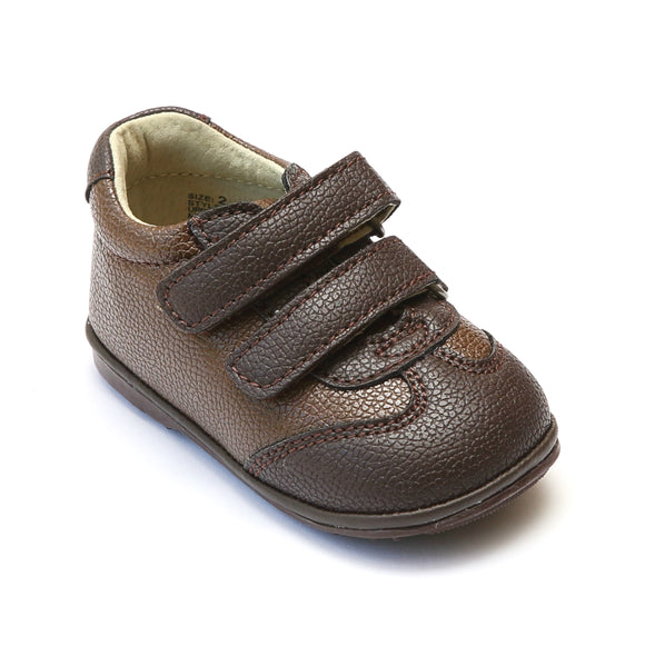 Angel Baby Boys Brown Leather Double Strap Sneakers - Babychelle.com