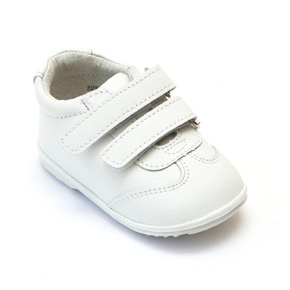 Angel Baby Boys White Leather Double Strap Sneakers - Babychelle.com