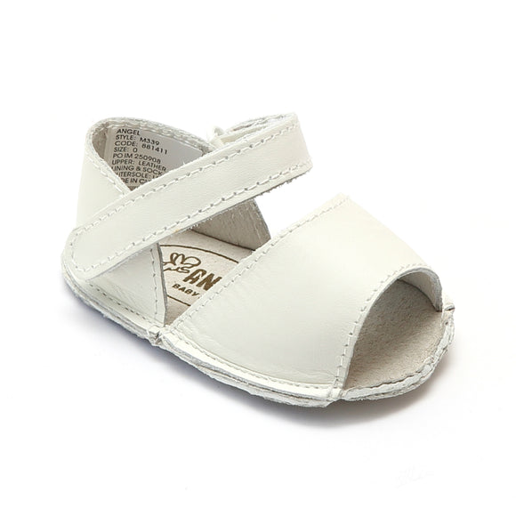 Angel Baby Girls White Open Toe Crib Sandals - Babychelle.com