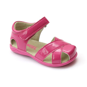 Angel Girls Fuchsia Cross Strap Leather Sandal - Babychelle.com