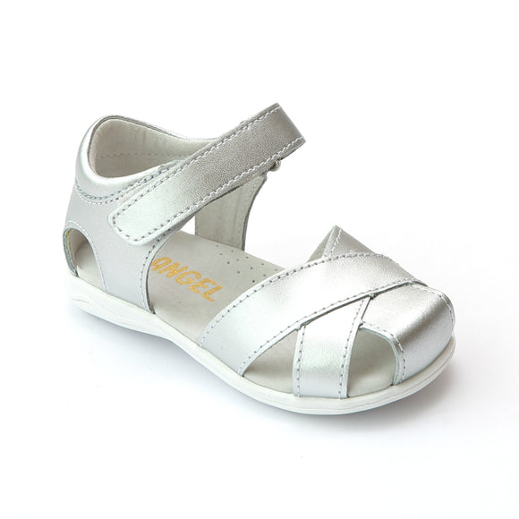 Angel Girls Silver Cross Strap Leather Sandal - Babychelle.com