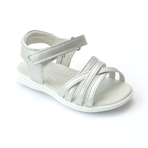 Angel Girls Silver Leather Cross Strap Sandals - Babychelle.com