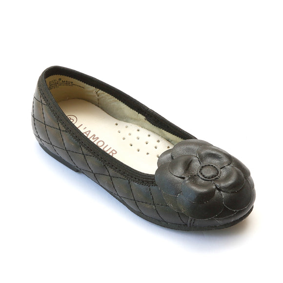 L'Amour Girls Black Quilted Camellia Flats - Babychelle.com