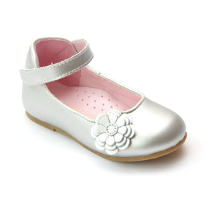 L'Amour Girls Special Occasion Silver Camellia Flats - Babychelle.com