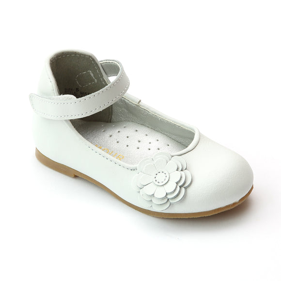 L'Amour Girls Special Occasion White Camellia Flats - Babychelle.com