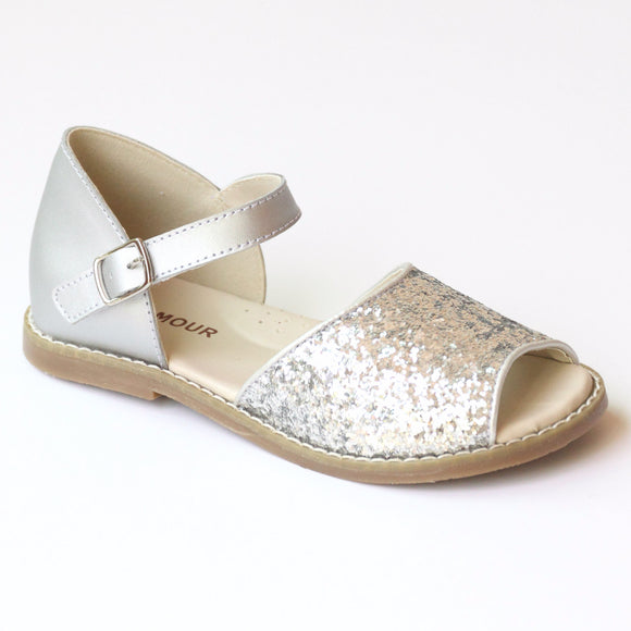 L'Amour Girls Glitter Silver Open Toe Sandal