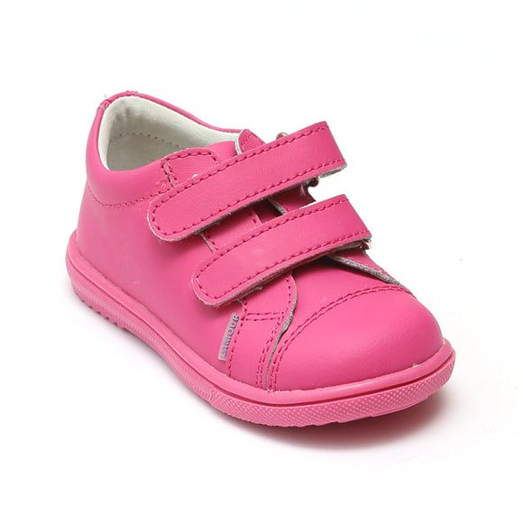 L'Amour Girls Fuchsia Double Velcro Leather Sneaker - Babychelle.com